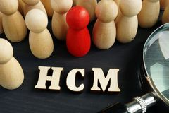 人力资本管理HCM 小雕象和放大镜 免版税库存照片