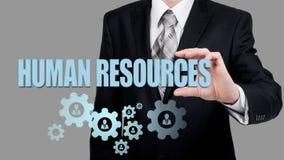 人力资源、CRM、数据采集和社会媒体概念-正在寻找员工的官员表示由图标 免版税库存图片