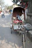 人力车司机在加尔各答 免版税库存图片