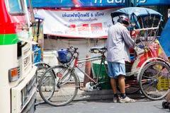 人力车在暖武里府,泰国 免版税库存照片