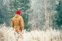 年轻人单独走室外与在背景的有雾的斯堪的纳维亚森林自然 库存照片