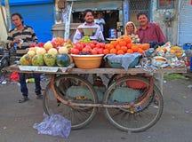 人卖室外的果子 图库摄影