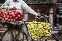 人卖香蕉和苹果在自行车 库存照片
