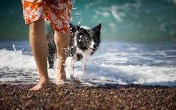 人去与他的狗在海外面 免版税库存照片