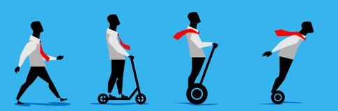 人去的,乘坐的滑行车和电滑行车 瞄准的运动 向量例证