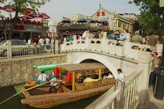 人参观Houhai湖区域在北京,中国 免版税图库摄影