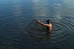 人发射的鱼设陷井在湖水的圈套 免版税图库摄影