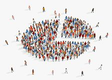 人口人口统计学报告,圆形统计图表组成由人 向量例证