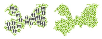 人口统计学和农业列宁格勒州地图 库存例证