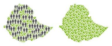 人口统计学和植物群埃塞俄比亚地图 向量例证