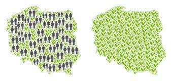 人口统计学和植物群波兰地图 皇族释放例证