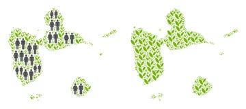 人口统计学和植物群瓜德罗普地图 向量例证