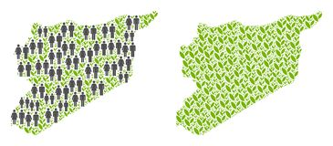 人口统计学和种植园叙利亚地图 向量例证