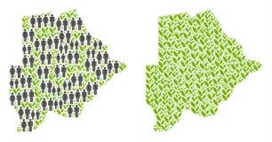 人口统计学和自然博茨瓦纳地图 库存例证