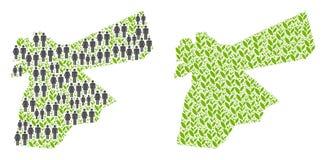 人口统计学和自然约旦地图 库存例证