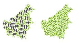 人口统计学和花卉婆罗洲海岛地图 皇族释放例证