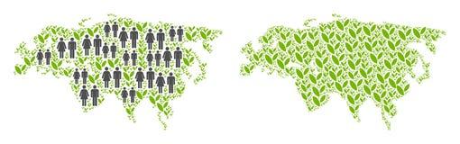 人口统计学和花卉欧亚大陆地图 库存例证