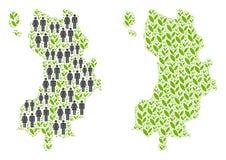人口统计学和花卉酸值陶泰国海岛地图 皇族释放例证