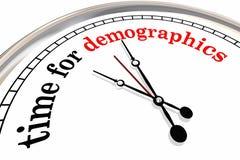 人口统计学时钟的时刻措辞研究观众3d Illustrat 向量例证