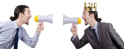人呼喊和叫喊与扩音器 免版税库存图片