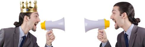 人呼喊和叫喊与扩音器 免版税库存照片
