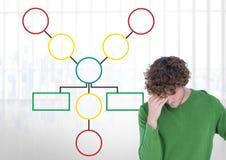 人和五颜六色的心智图在明亮的背景 免版税图库摄影