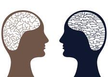 人和人工智能脑子概念 免版税库存照片