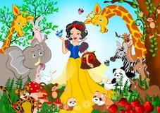 人和动物在雪白故事吸引 免版税库存图片