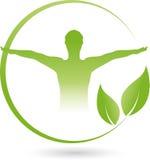 人和叶子、健身和选择治疗师商标 皇族释放例证
