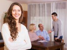 人和大家庭与代理 免版税库存图片