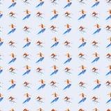 人和女孩冲浪者,水彩无缝的样式,手拉的背景 向量例证