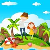 人和女孩在海岛上 图库摄影