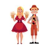年轻人和妇女传统德国,巴法力亚慕尼黑啤酒节服装的 库存例证