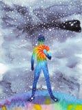 人和宇宙力量,水彩绘画, chakra reiki,世界,在您的头脑里面的宇宙 免版税库存照片