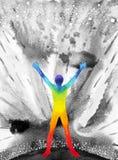 人和宇宙力量,水彩绘画, chakra reiki,在您的头脑里面的世界宇宙 免版税库存照片