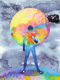 人和宇宙力量,水彩绘画, chakra reiki,在您的头脑里面的抽象世界宇宙 免版税图库摄影