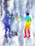 人和宇宙力量,水彩绘画, chakra reiki,策划者在您的头脑里面的世界宇宙 免版税库存照片