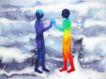 人和宇宙力量,水彩绘画, chakra reiki,策划者在您的头脑里面的世界宇宙 免版税库存图片