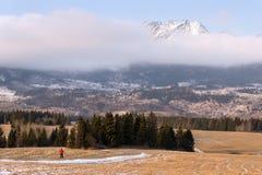 人和山 红色夹克的一个人以高Tatras的积雪覆盖的峰顶为背景 波普拉德谷,斯洛伐克 Wi 库存图片