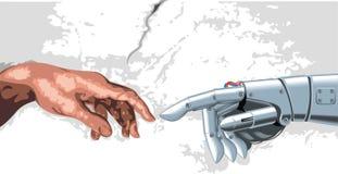 人和机器人手 图库摄影