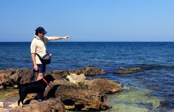 人和狗在海边 图库摄影