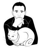 人和猫 免版税图库摄影
