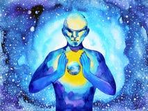 人和精神强有力的能量连接到世界宇宙力量 皇族释放例证