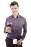 人和红葡萄酒 免版税库存照片