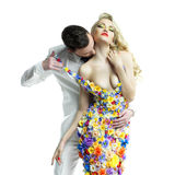 年轻人和美丽的夫人花的穿戴 免版税库存照片