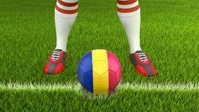 人和足球与罗马尼亚旗子 向量例证