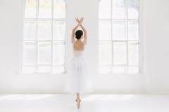 年轻人和难以置信地美丽的芭蕾舞女演员是摆在和跳舞在一个白色演播室 免版税库存图片