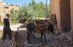 人和驴在Kharanagh村庄,伊朗 免版税库存图片