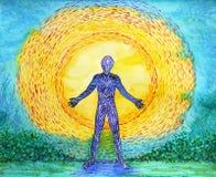 人和更大的功率,抽象水彩绘画, 7 chakra瑜伽 免版税库存图片