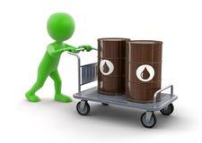 人和Handtruck与油桶(包括的裁减路线) 免版税库存图片